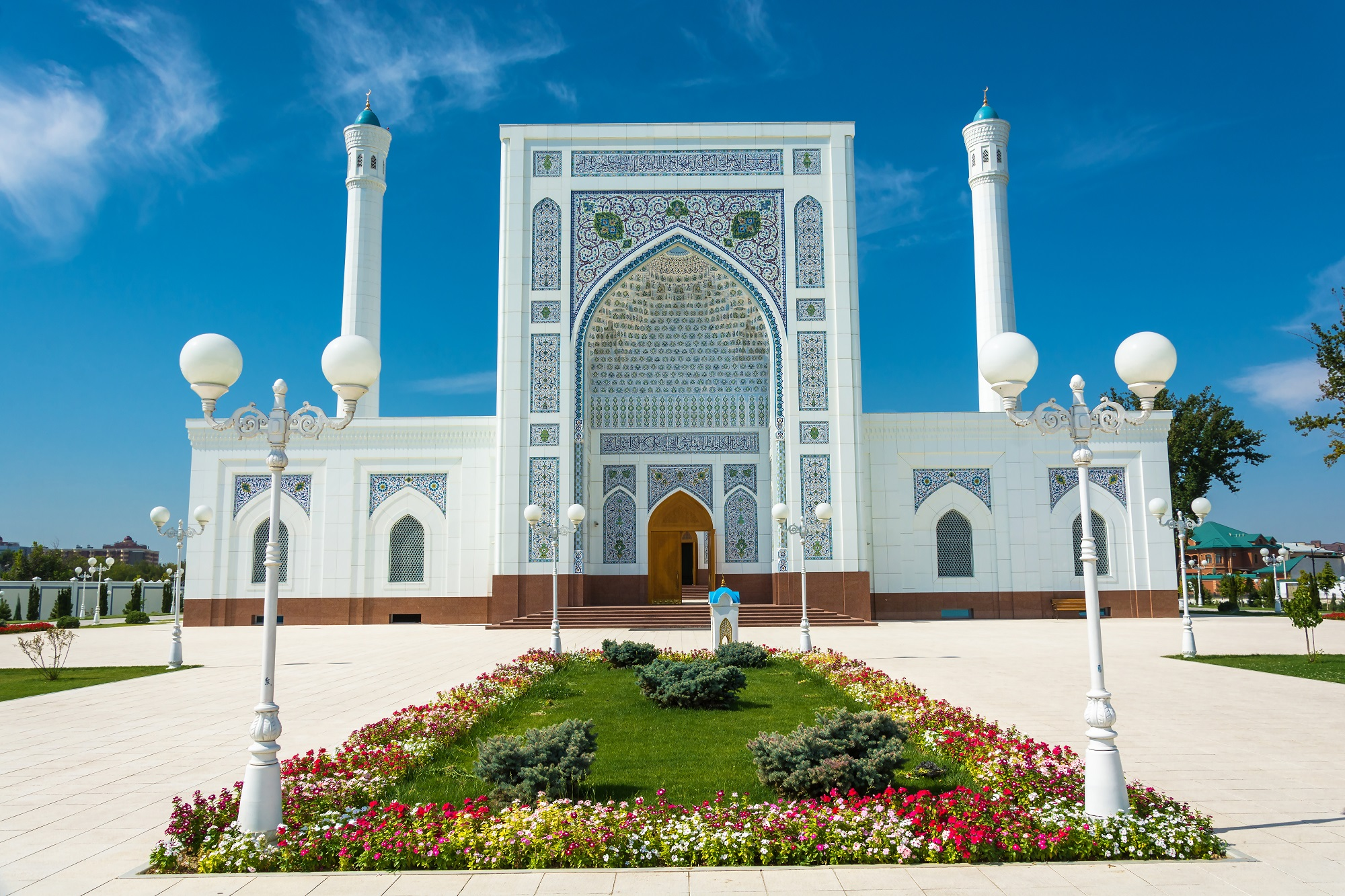 Beautiful white Minor mosque in Tashkent on a sunny day, Uzbekistan.