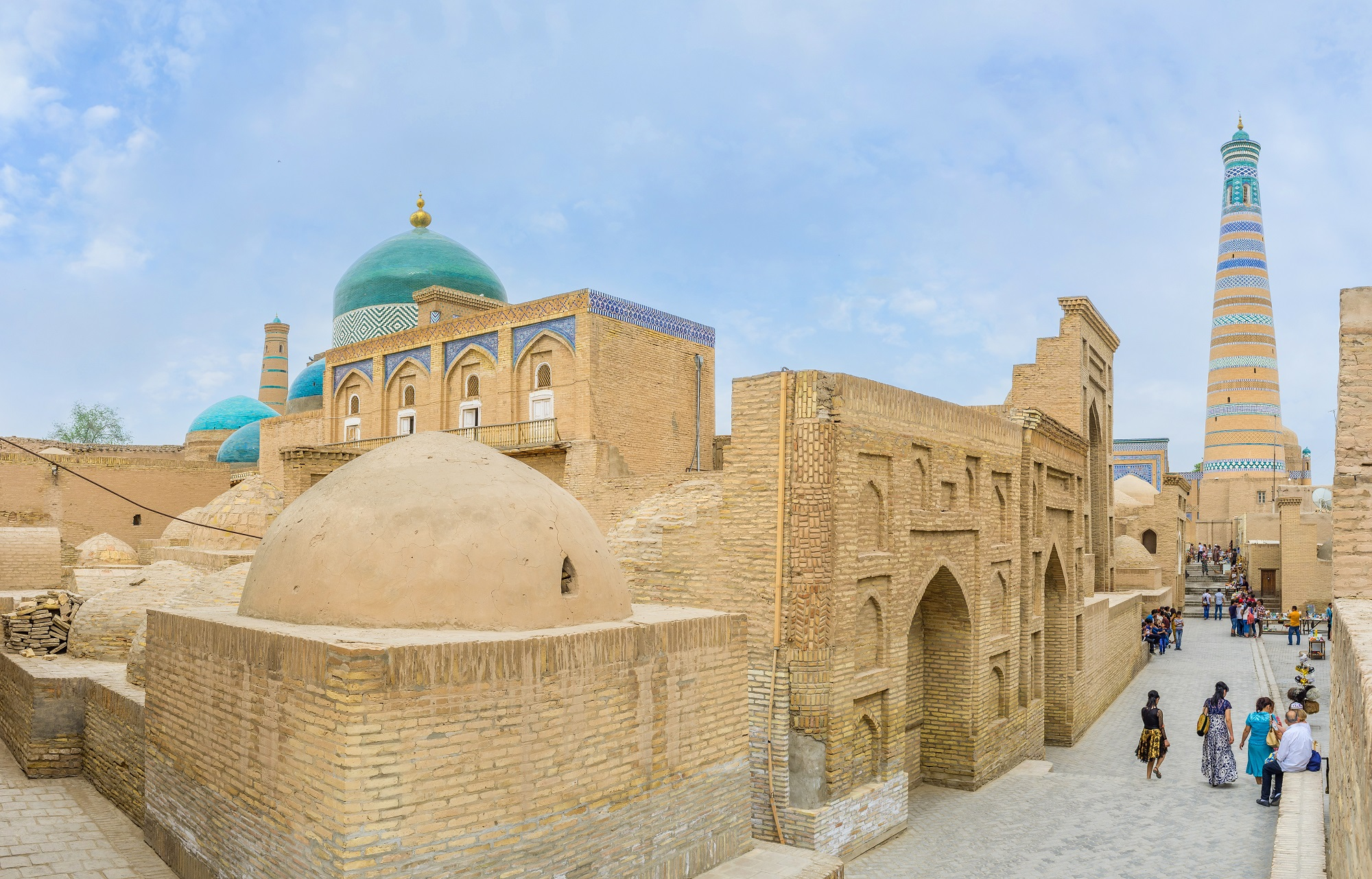 KHIVA, UZBEKISTAN - MAY 3, 2015: The old town built of the ochra brick and decorated with colorful glazed tile, on May 3 in Khiva.