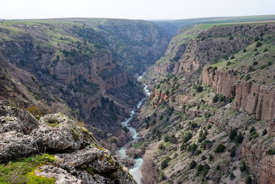 Aksu Canyon seen from Sayram-Ugam National Park in the southern province of the Republic of Kazakhstan