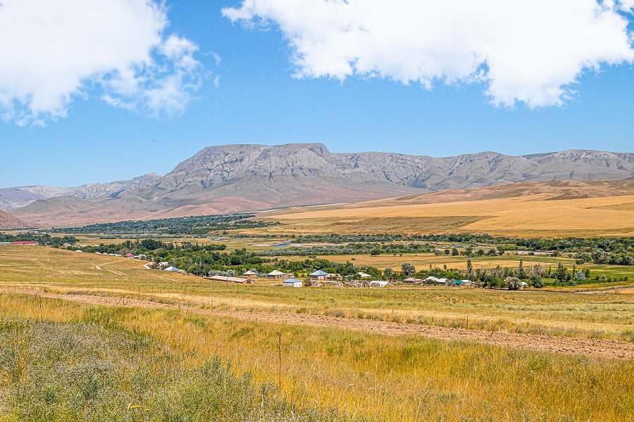 Landscape of the foothills of the Tien Shan in the Zailiysky Alatau of Kazakhstan
